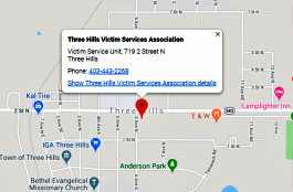 Map to Three Hills Victim Services office. Click for an enlargement.